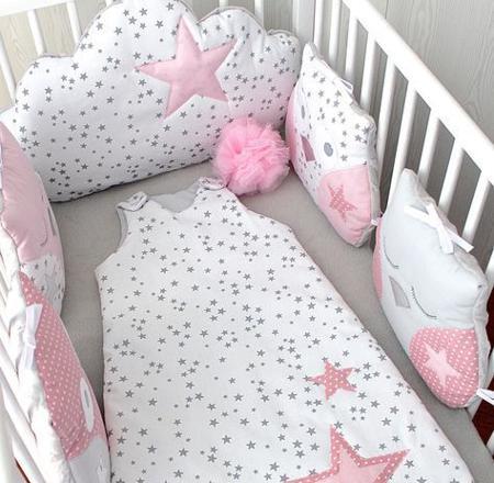 tour de lit gris et rose